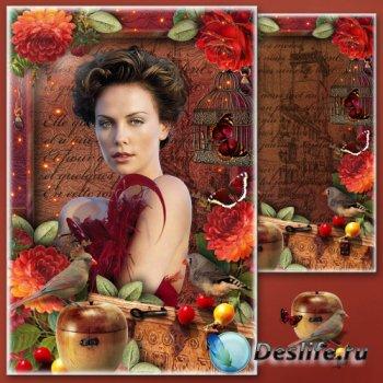Цветочная рамка для фотошопа - Винтажная осень