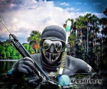 Мужской костюм для фотошопа - Подводный охотник