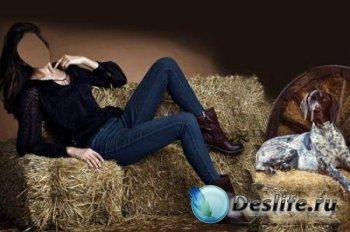 Костюм для фотошопа - Дама на сене