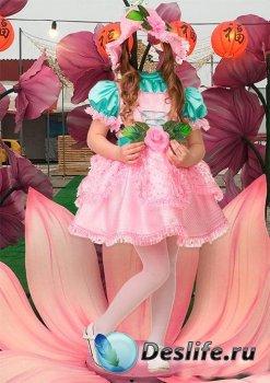 Костюм для девочки в фотошопе - Дюймовочка
