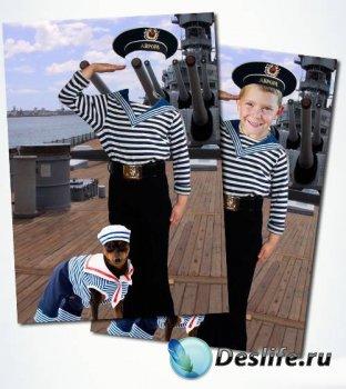 Детский костюм для фотошопа мальчика в морской форме