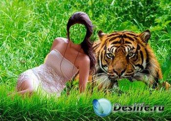 Женский костюм для фотошопа - Девушка с тигром на траве