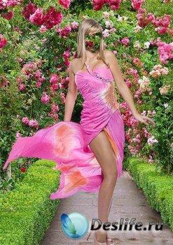 Женский костюм для фотошопа - В розовом платье в алее