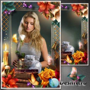 Цветочная рамка для фото - Поэтическое настроение