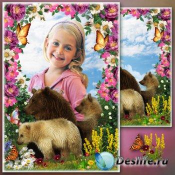 Рамка для фото - Мишки в весеннем саду