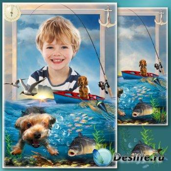 Летняя рамка для фото - Увлекательная рыбалка