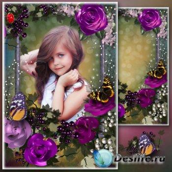 Цветочная рамка для фото - Пурпурные розы