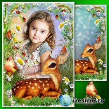 Летняя рамка для фото с очаровательным оленёнком - Луговое разнотравье