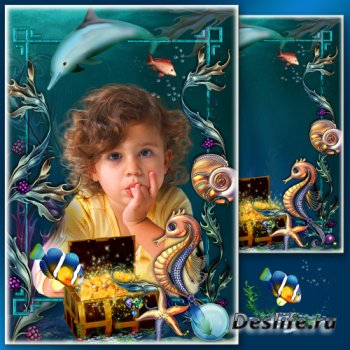 Летняя рамка для фото в подводном стиле - Морская пучина