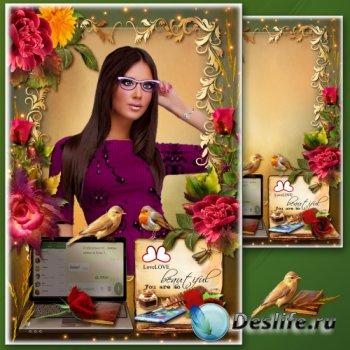 Рамка для фото с роскошными розами - На стыке эпох
