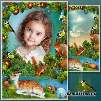 Летняя рамка для фото с оленёнком на фоне пейзажа - Любимый остров
