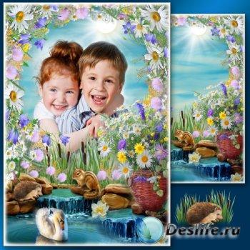 Летняя рамка для фото с полевыми цветами - Освежающий водопад