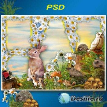 Летняя рамка для фото сессии на фоне ромашек и лесных обитателей - Нежный полевой цветок